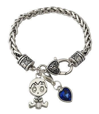 Baby Newborn Gift It's A Boy Blue Luck Crystal Antique Silver Charm Bracelet (Crystal Silver Baby Bracelets)