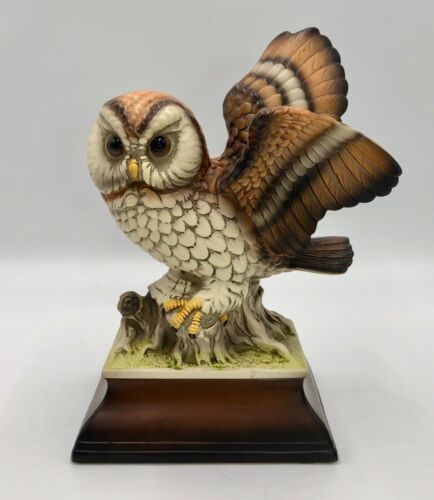"Ceramic Porcelain Owl Statue Figurine 9.75"" on Pedestal Made in Japan Signed HK"