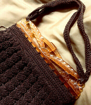 1920s Style Purses, Flapper Bags, Handbags Crocheted Purse Chocolate 1920's/30's Vintage NOT FADED $50.00 AT vintagedancer.com