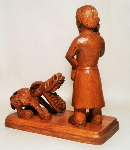 LA FLEUR vtg french folk art wood carving dog veterinarian doctor flower statue