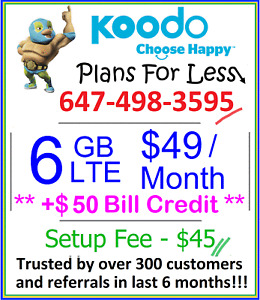 Koodo $49 6GB LTE data plan UNLIMITED talk text + $50 bonus