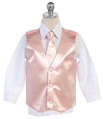 Boys Men Formal Blush Color Satin Vest for Tuxedo Suit with Necktie Made in USA  (Boys In Tuxedo)
