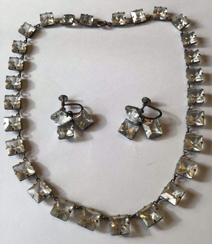 VINTAGE STERLING SILVER CRYSTAL OPEN BACK PASTE NECKLACE AND EARRINGS 7K