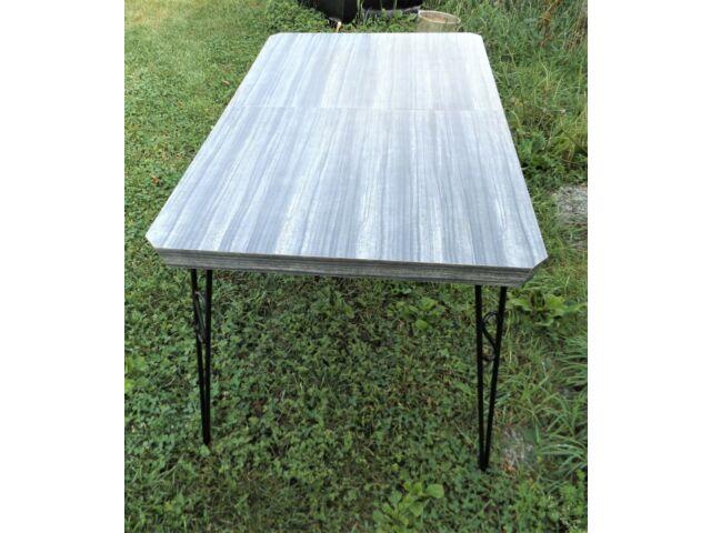 Vintage Mid-Century Modern Grey Formica Kitchen Table