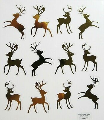 Gold Reindeer Christmas Card Decorations Envelopes PS Foil Stickers ()