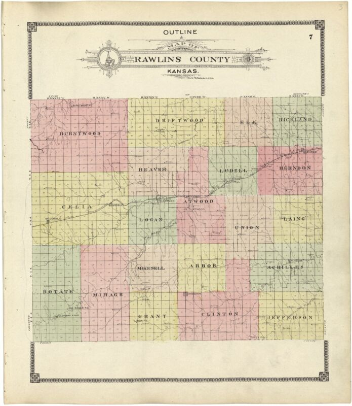 1906 KANSAS history RAWLINS COUNTY plat maps old GENEALOGY LAND OWNER DVD P121