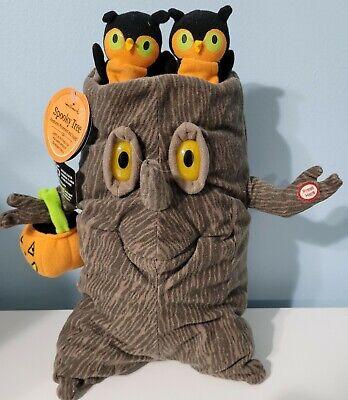 Hallmark Halloween Spooky Tree Owls Plush Singing Sound Motion Lights NWT