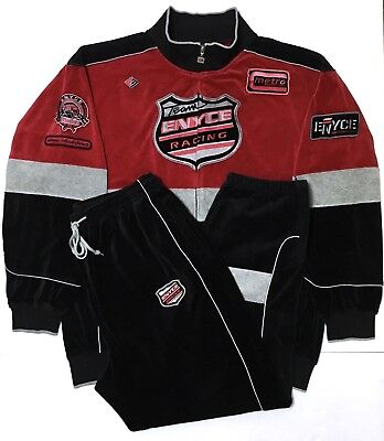 Vtg ENYCE Racing Team Full Zip Embroidered Patches Motorcycle Jacket & Pants 2XL Team Full Zip Pant