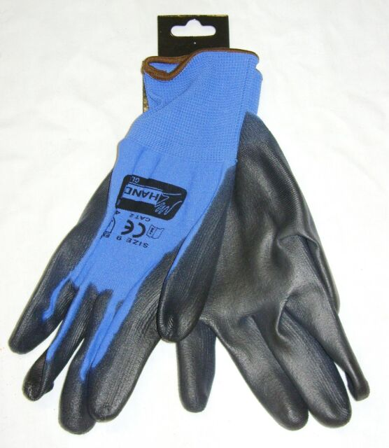 NEW PU COATED WORK GLOVES DIY GARDENING SNUG FIT BLUE SIZE 9 LARGE F