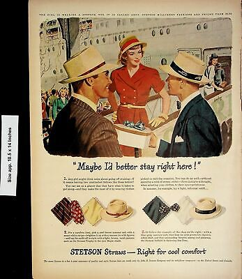 1947 Stetson Straw Hats Summer Suit Vintage Print Ad 4658