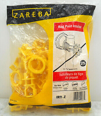 Bag Of 25 Zareba Yellow Screw-on Rod Post Insulators Model Iry-z