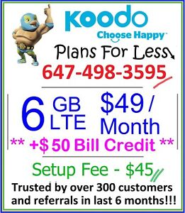 Koodo 1gb 6gb 8gb LTE data plan Canada talk text + $50 credit
