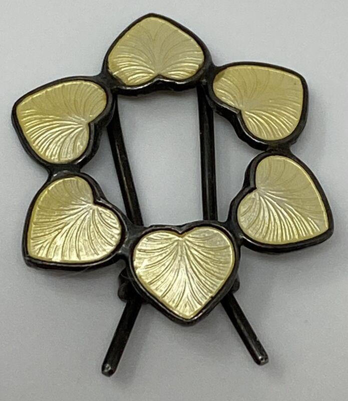 Volmer Bahner VB Hair Clip Denmark Sterling Silver Yellow Enamel Heart RARE