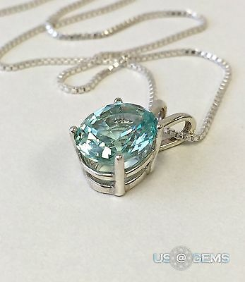 925 Sterling Silver pendant created 3 ct. Aquamarine Chain Necklace Jewelry. @