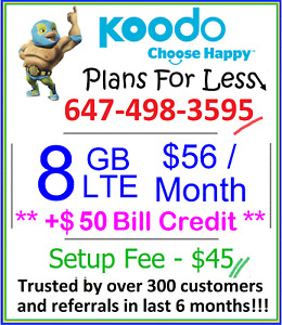 Koodo $56 8GB LTE data plan Canada talk text + $50 bonus