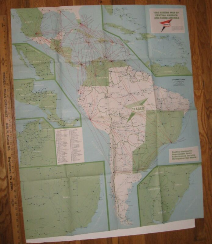 Texaco Airline Map Of Central & South America  1969