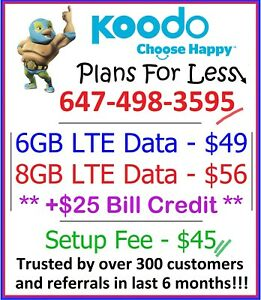 Koodo Mobile 6GB 8GB LTE data plan Canada talk text + $25 bonus