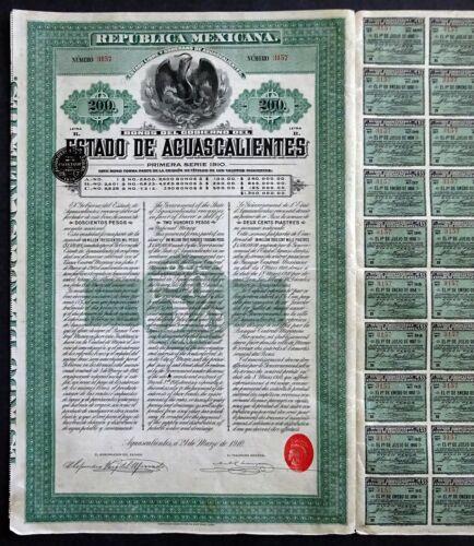 1910 Mexico: Republica Mexicana - Estado de Aguascalientes, 200 Pesos Bond
