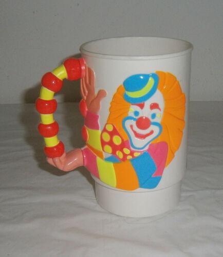 VINTAGE Ringling Brothers Barnum Bailey Circus Clown 3D Neon Cup/Mug 1990