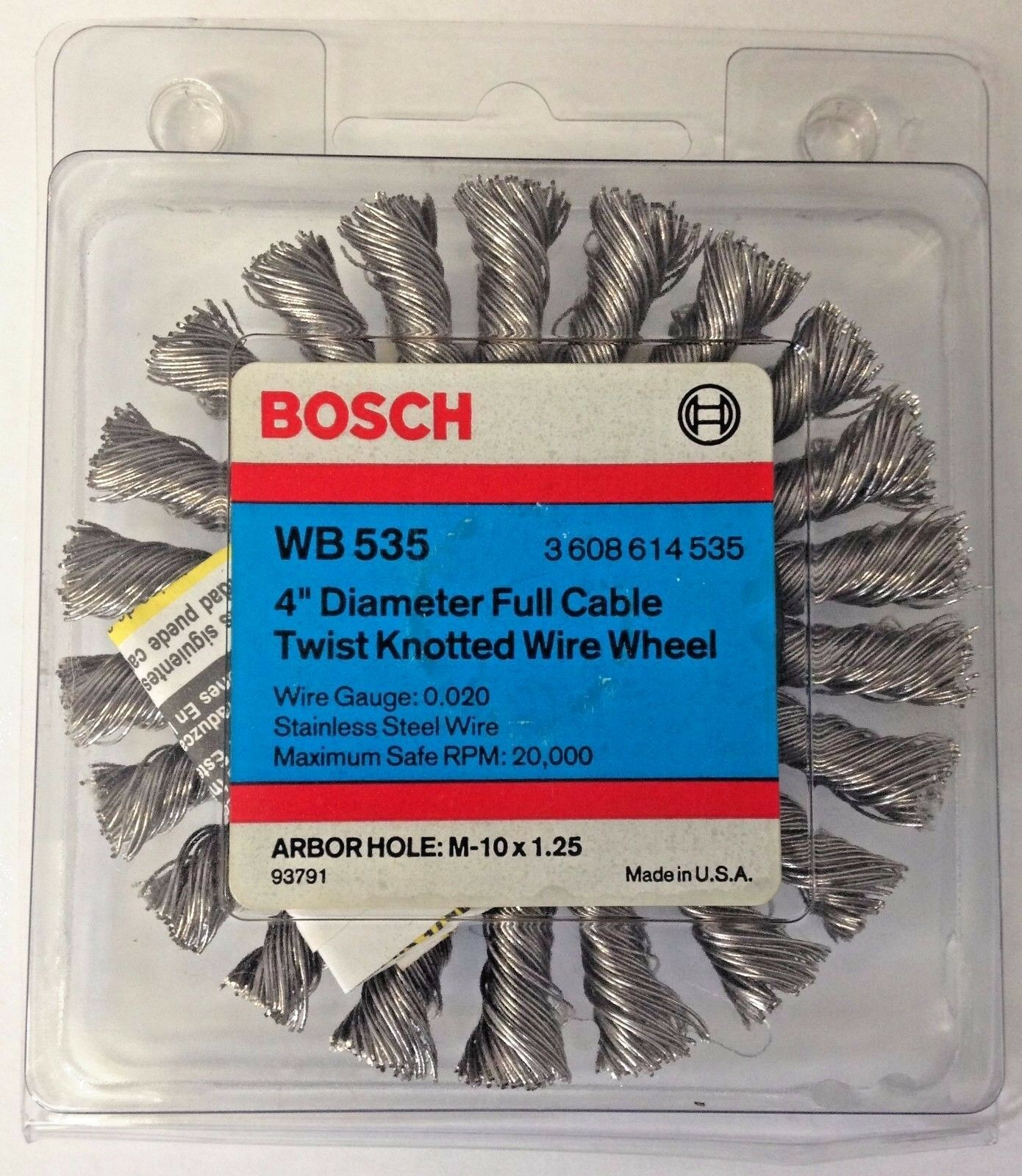 """Bosch Wb 556 4/"""" Stringer Bead Knotted Wire Wheel Arbor M-10 x 1.50 USA"""