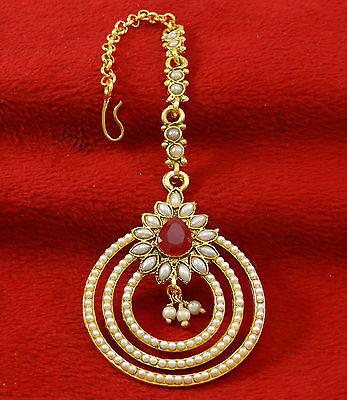 Indian Traditional Goldtone Women Wedding Maang Tikka Designer Forehead Jewelry