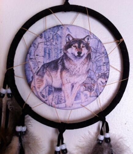 Cherokee Dream Catcher, Proud Wolf Printed on Canvas