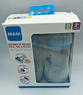 MAM Baby Bottles Set Unisex 9 Ounce 2 Pack 2+ Months Anti-Colic- Blue, NEW