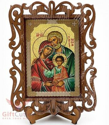 Holy Family of Jesus Christ, Mary & Joseph Christian Wood Icon Святое Семейство