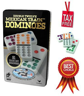 Color Dot Dominoes - Mexican Train 12 Color Dot Dominoes Cardinal Double Tile Game