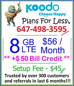 Koodo $56 8GB LTE data plan Canada talk text + $50 credit