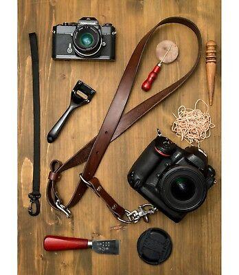 Cloverlily Leather Single Camera Strap Leather Camera Sling HandmadeDark Brown