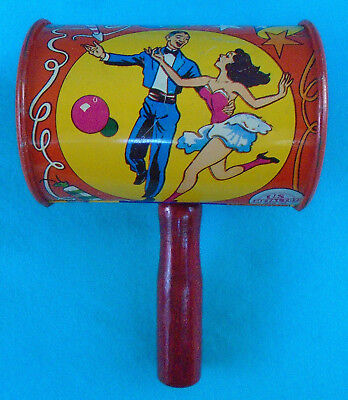 New Year's Eve Dancing Litho Tin Rattle Noisemaker, US Metal Toy Mfg, circa 1950