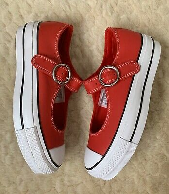 Converse Chuck Taylor All Star Mary Jane Leather Trainers Shoes Red UK5 NEW