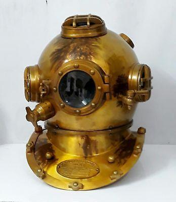"US Navy Mark V Diving Divers Helmet Solid Steel Full 18"" Size Marine Sea Scuba"