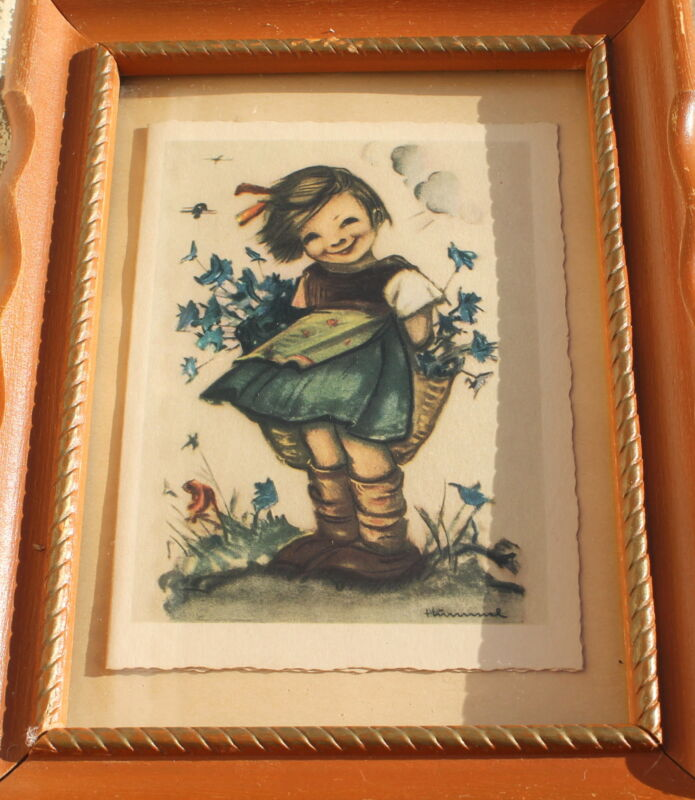 Vintage Hummel Girl Print Framed