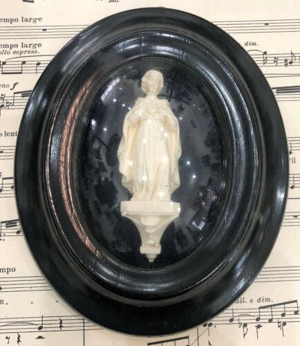 Antique French Carved Plaster Jesus Sacred Heart Domed Glass c1880