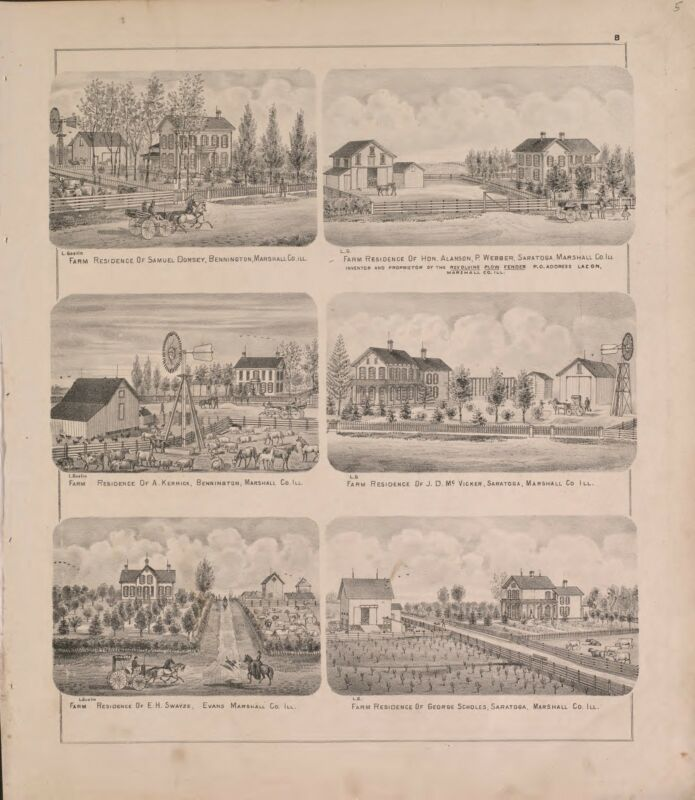 1873 atlas MARSHALL COUNTY ILLINOIS Atlasplat map old GENEALOGY history DVD P53