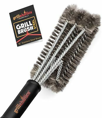 Grillaholics Essentials Stainless Steel BBQ Grill Brush - Triple Safety Tested
