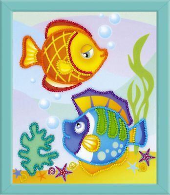RIOLIS 0062PT Fisch See- Stickerei Perlen Hintergrund vorgedruckte Perlen-hintergrund