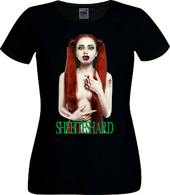 Clearance Sale Horror Vampire Halloween Sexy Contour Fit Ladies T Shirt Large - Halloween Clearance Sales