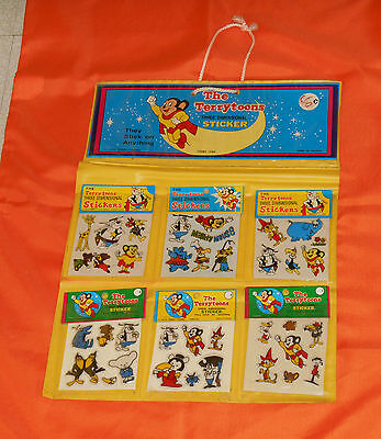 vintage MIGHTY MOUSE / THE TERRYTOONS PUFFY STICKERS with retail store display