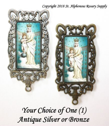 One MEGA Large Rosary Center | Our Lady of Victory |Choice of Silver/ Bronze