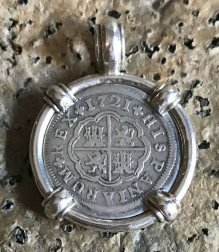 Pirate Coin Treasure Piece of Eight Spanish Authentic 1 Reale Silver Pendant
