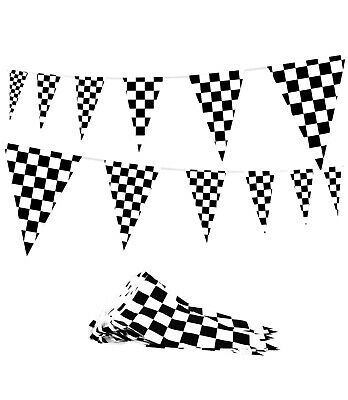Black And White Party Decorations (100' Feet Black and White Checkered Flags Pennant String Banner Racecar)
