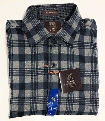 James Tattersall Men's Spread Collar Long Sleeve Plaid Sportshirt Large - Navy