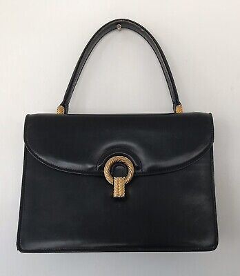 Vintage 1960s Gucci Black Leather Handle Bag