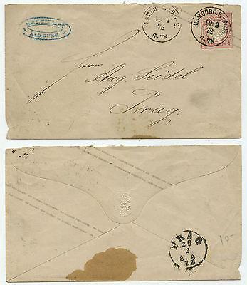 34667 - Ganzsache U 1 A - Umschlag - Hamburg 19.2.1872 nach Prag