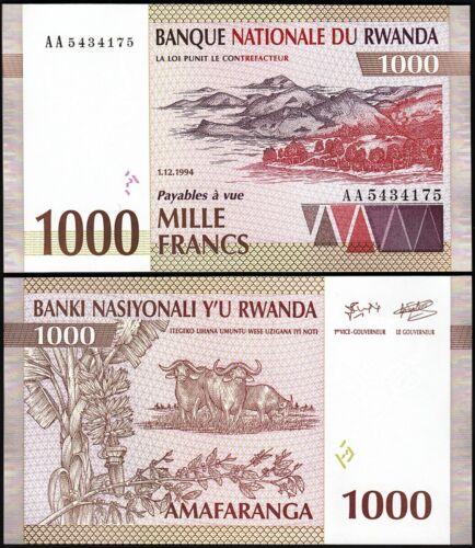 Rwanda 1000 Francs 1994,  UNC, P-24, Prefix AA
