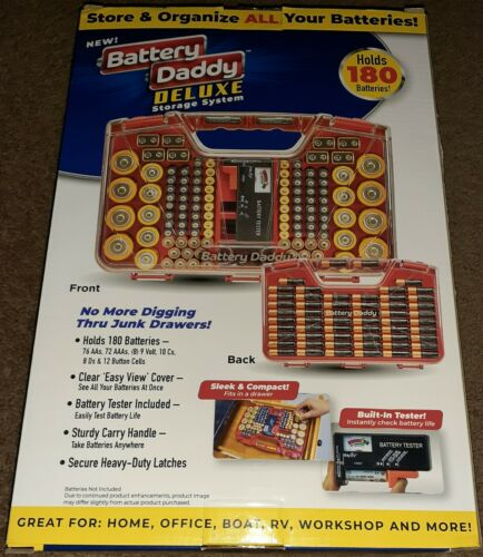 BATTERY DADDY DELUXE 180 Battery Organizer And Storage Case With Tester - $26.39