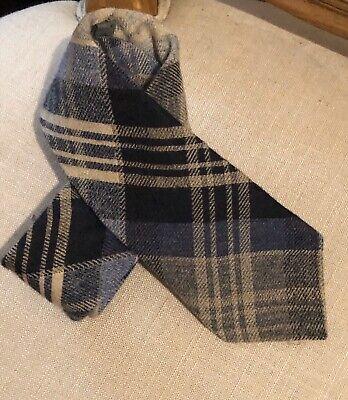NEW Hickey Freeman mens tie cashmere silk blue plaid